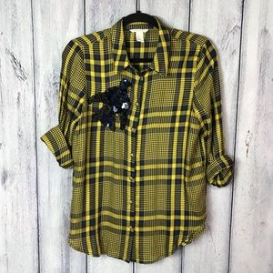 H&M Blouse Plaid With Sequined Bird Super Cute
